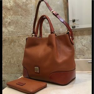 Dooney and Burke Fawn Pebble Leather Satchel